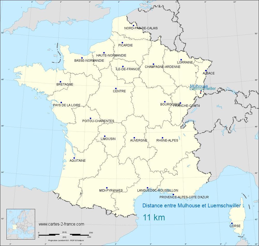 Distance entre Mulhouse et Luemschwiller